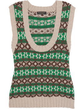 Fair Isle Cashmere And Wool Blend Vest by Burberry