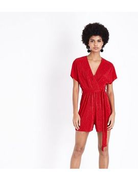 Red Plisse Wrap Front Playsuit by New Look