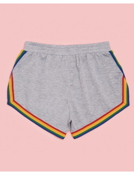 Ban.Do X Camp Collection Rainbow  Stripe Heather Grey Gray Gym Shorts Medium M by Ebay Seller