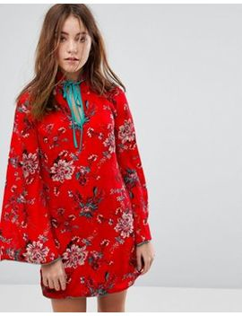 Glamorous Long Sleeve Shift Dress With High Collar In Romantic Floral by Glamorous