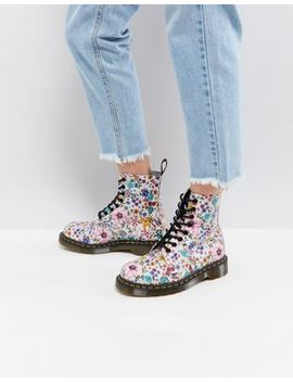 Dr Martens Pascal Lace Up Boot With Floral Print by Dr Martens