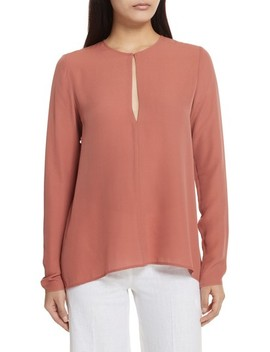 Slit Front Silk Georgette Blouse by Theory
