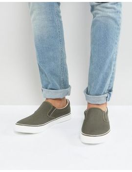 Brave Soul Slip On Plimsolls In Khaki by Shoes