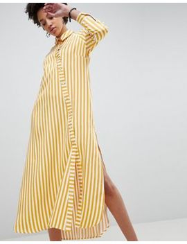 Asos White Oversized Stripe Maxi Shirt by Asos White