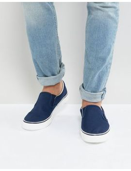 Brave Soul Slip On Plimsolls In Navy by Trainers
