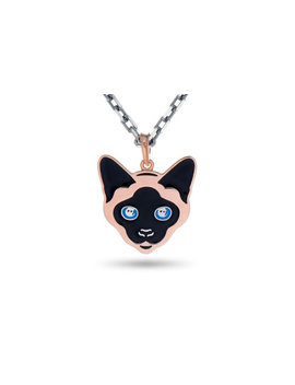 Cat Pendant Thai Cat Necklace Siamese Cat Cat Jewelry Enamel Silver Cat Siamese Necklace Blue Eyes Cats Cat Face Cat Head by Etsy