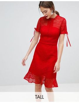 Chi Chi London Tall All Over Lace Midi Dress With High Neck And Short Sleeve by Chi Chi London Tall