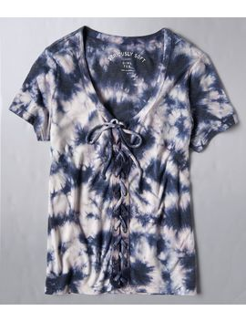 Seriously Soft Tie Dye Lace Up Girl Tee by Aeropostale
