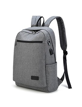 Lingtom College Backpack For Men School Bookbag Travel Bags Canvas Laptop Backpack With Usb Charging Port, Grey by Lingtom