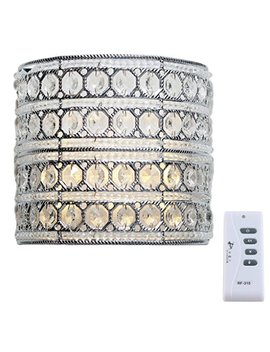 Decorative Led Wall Sconce Lighting: 8 Inch Glam Doll Crystal Glass Wall Mounted Lamp   Battery Operated Wireless Hanging Silver Light Fixture With Remote Control Dimmer, Timer & Flicker Functions by River Of Goods