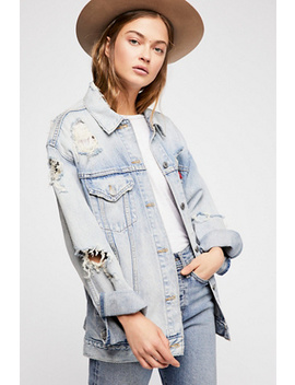 Levi's Destroyed Baggy Trucker by Free People