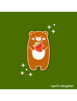 Pre Order | Strawberry Hungry Bear   Enamel Pin by Etsy
