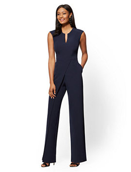 Navy Seamed Wrap Jumpsuit by New York & Company