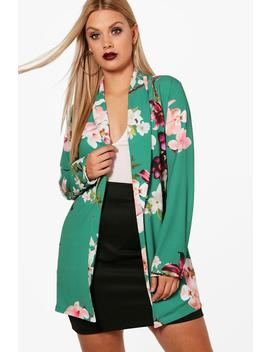 Plus Holly Oriental Belted Blazer by Boohoo