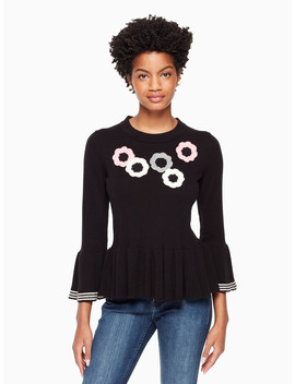 Crochet Flower Bell Sweater by Kate Spade