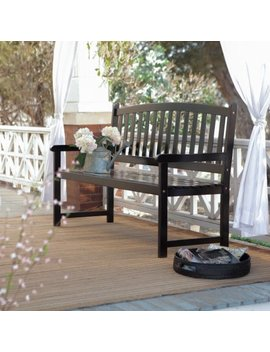 Coral Coast Pleasant Bay 5 Ft. Slat Curved Back Outdoor Wood Bench   Black by Coral Coast