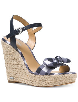 Pippa Gingham Espadrille Wedge Sandals, Created For Macy's by Michael Michael Kors