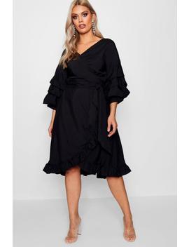 Plus Elle Ruched Sleeve Ruffle Wrap Midi Dress by Boohoo