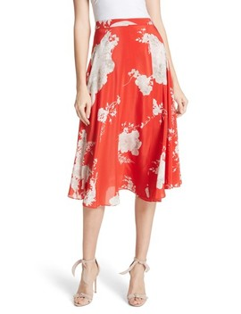 Nanette Faux Wrap Floral Silk Skirt by Alice + Olivia