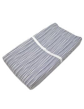 American Baby Company 100 Percents Cotton Jersey Fitted Contoured Changing Table Pad Cover, Also Works With Travel Lite Mattress, Navy/Grey Funny Stripes by American Baby Company