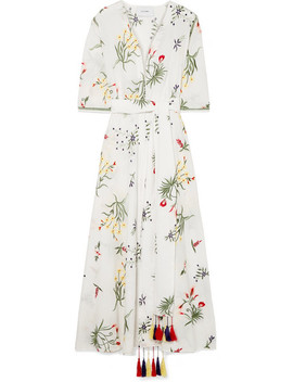 Provence Tasseled Embroidered Cotton Voile Robe by We Are Leone