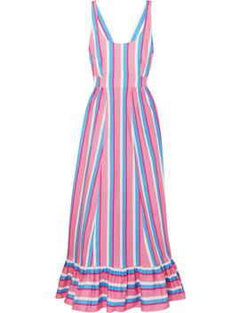 Eunice Striped Stretch Cotton Poplin Maxi Dress by Staud