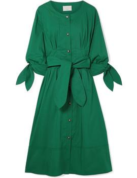 Belted Cotton Blend Poplin Midi Dress by Jason Wu Grey