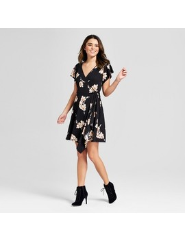 Women's Floral Print Wrap Front V Neck Short Sleeve Dress   Xhilaration™ by Xhilaration™