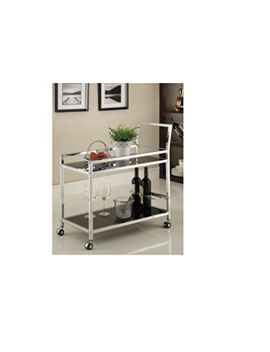 Chrome Metal Bar Tea Serving Cart With Black Tempered Glass by Does Not Apply