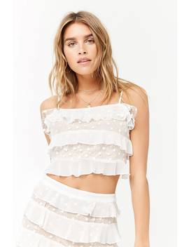 Embroidered Mesh Crop Cami by F21 Contemporary
