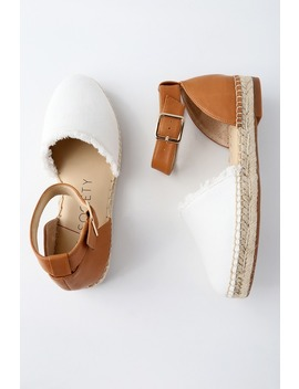 Stacie Natural Leather Ankle Strap Espadrille Flats by Sole Society