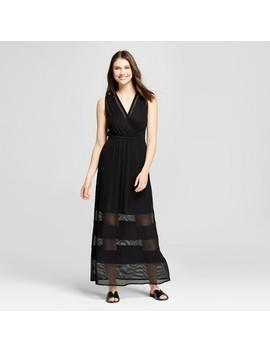 Women's Knit Maxi Dress With Mesh Detail   Spenser Jeremy   Black by Target