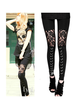 2016 Autumn New Punk Gothic Rock Legging Sexy Lace Splice Vestidos Femininos American Apparel Leggings Free Shipping by Cryptographic Store