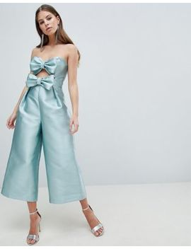 Asos Design Bow Jumpsuit In Structured Fabric by Asos Design