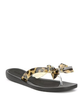 Guess Tutu 9 Leopard Bow Detail Flip Flops by Guess