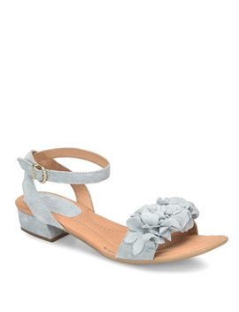 Bouvet Suede Leather Flower Detail Ankle Strap Block Heel Sandals by Born