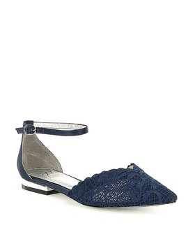 Adrianna Papell Trala Lace Ankle Strap D'orsay Dress Flats by Adrianna Papell
