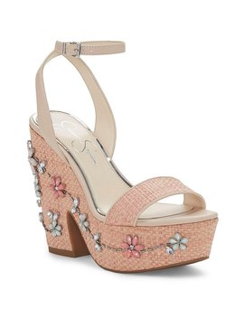 Cressia Raffia Stone Flowers Ornament Sandals by Jessica Simpson
