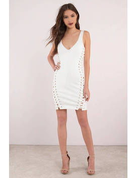 Lace Be Honest White Bodycon Dress by Tobi