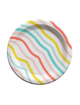 """Oh Joy! For Cheeky Rainbow Wave 9"""" Paper Plates   30ct by Cheeky"""