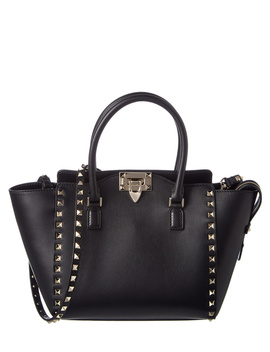 Valentino Rockstud Small Leather Double Handle Tote by Valentino