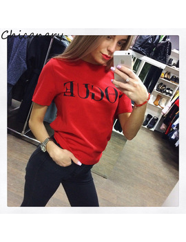 Chicanary 2018 Brand Summer Tops Fashion Clothes Women Vogue Letter Printed Harajuku T Shirt Red Black Female T Shirt Camisas by Chicanary Boutique Store Store