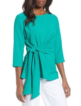 Tie Front Crepe Top by Gibson