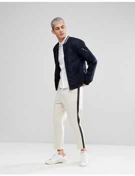 Casual Friday Bomber Jacket In Pinstripe by Casual Friday