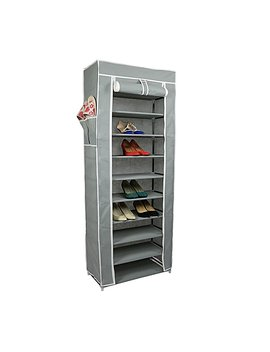 "Smart Home 10 Tiers Shoe Rack With Dustproof Cover Closet Shoe Storage Cabinet Organizer [Grey, 64""X24""X 12"" (Lx Wx D)] … by Smart Home"