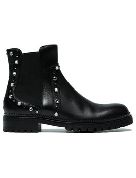 Black Burrow Crystal Leather Boots by Jimmy Choo