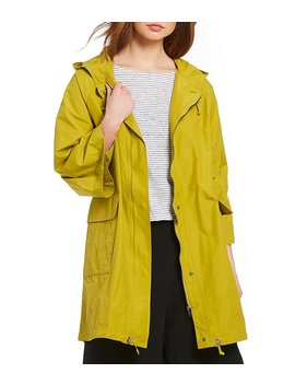 Hooded 3/4 Sleeve Anorak by Eileen Fisher