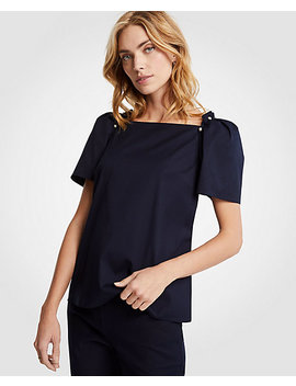 Pearlized Puff Sleeve Tee by Ann Taylor
