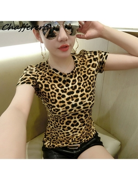 Chafferer Plus Size Women Leopard Fitness Crop Top Summer Korean Slim 2017 T Shirt European Short Sleeve Woman's Print T Shirt by Chafferer Sexy Clothes Store
