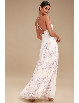 Blooms For You Pale Blush Floral Print Maxi Dress by Lulus